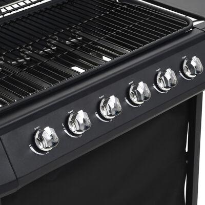 vidaXL fekete acél gáz grillező 6 főzőzónával