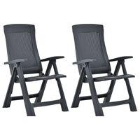 vidaXL 2 db antracitszürke dönthető műanyag kerti szék