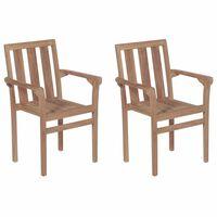 vidaXL 2 db rakásolható tömör tíkfa kerti szék