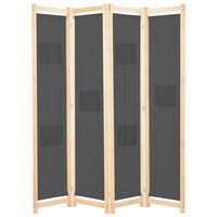 vidaXL szürke 4-paneles szövetparaván 160 x 170 x 4 cm