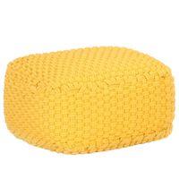 vidaXL kézzel kötött sárga pamutpuff 50 x 50 x 30 cm