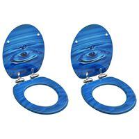 vidaXL 2 db kék vízcseppmintás MDF WC-ülőke finoman záródó fedéllel