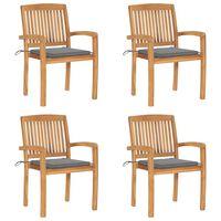 vidaXL 4 db rakásolható tömör tíkfa kerti szék párnákkal