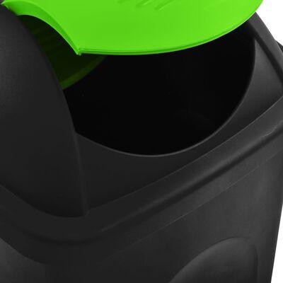 vidaXL fekete és zöld szemeteskuka lengőfedéllel 60 L