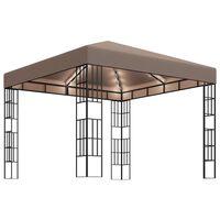 vidaXL tópszínű pavilon fényfüzérrel 3 x 3 m