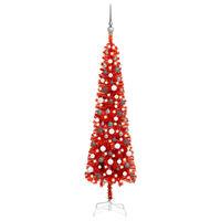 vidaXL piros vékony karácsonyfa LED-ekkel és gömbszettel 180 cm