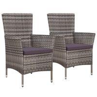 vidaXL 2 db szürke polyrattan kerti szék párnával