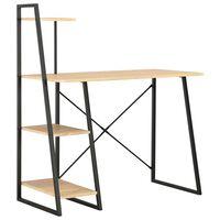 vidaXL fekete és tölgyszínű íróasztal polcrendszerrel 102x50x117 cm