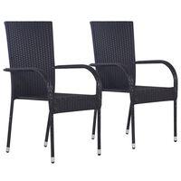 vidaXL 2 db fekete rakásolható polyrattan kültéri szék