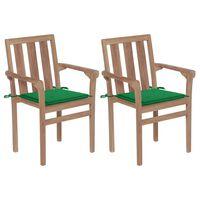vidaXL 2 db tömör tíkfa kerti szék zöld párnákkal