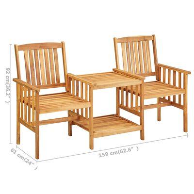 vidaXL tömör akácfa kerti székek teázóasztallal és párnákkal