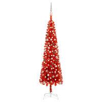 vidaXL piros vékony karácsonyfa LED-ekkel és gömbszettel 210 cm