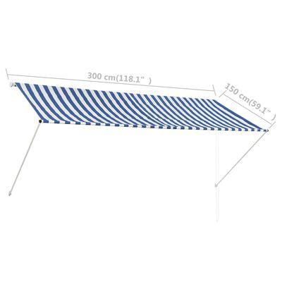 vidaXL feltekerhető kék és fehér napellenző 300 x 150 cm