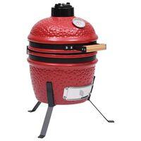vidaXL piros kerámia 2 az 1-ben Kamado grillsütő füstölővel 56 cm