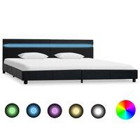 vidaXL fekete LED-es műbőr ágykeret 180 x 200 cm