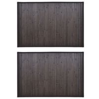 vidaXL 2 db sötétbarna bambusz fürdőszobaszőnyeg 60 x 90 cm