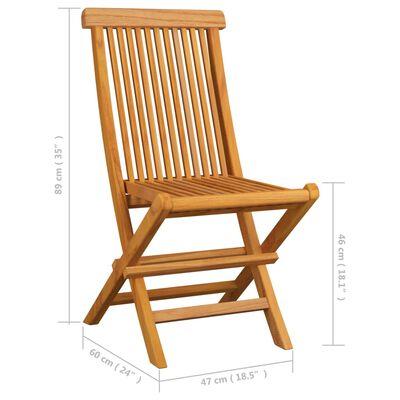 vidaXL 6 db tömör tíkfa kerti szék piros párnával