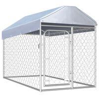 vidaXL kültéri kutyakennel tetővel 200 x 100 x 125 cm