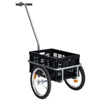 vidaXL fekete kerékpár pótkocsi összecsukható dobozzal 50 l 150 kg