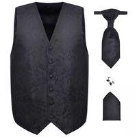Férfi Praisley esküvői mellény szett méret 48 fekete