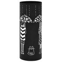 vidaXL fekete acél esernyőtartó női alakos mintával