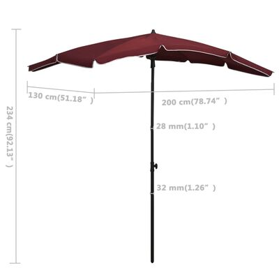 vidaXL bordó napernyő rúddal 200 x 130 cm
