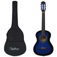 """vidaXL kék 1/2-es klasszikus gitár kezdőknek és gyereknek tokkal 34"""""""
