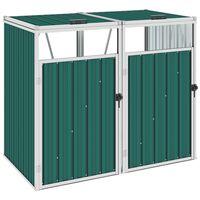 vidaXL zöld acél kukatároló 2 db kukához 143 x 81 x 121 cm