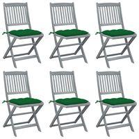 vidaXL 6 db összecsukható tömör akácfa kültéri szék párnával