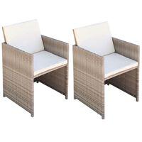 vidaXL 2 db bézs polyrattan kerti szék hát- és ülőpárnával