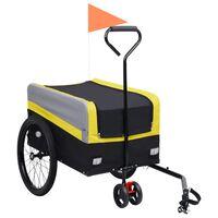 vidaXL sárga/szürke/fekete 2 az 1-ben XXL bicikliutánfutó és kézikocsi