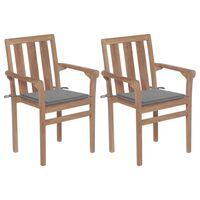 vidaXL 2 db tömör tíkfa kerti szék szürke párnákkal