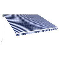 vidaXL kék és fehér kézzel kihúzható napellenző 450 x 300 cm