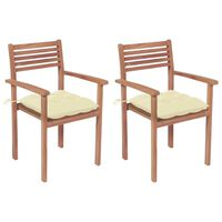 vidaXL 2 db tömör tíkfa kerti szék krémfehér párnákkal