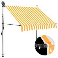 vidaXL fehér-narancssárga kézzel kihúzható LED-es napellenző 100 cm