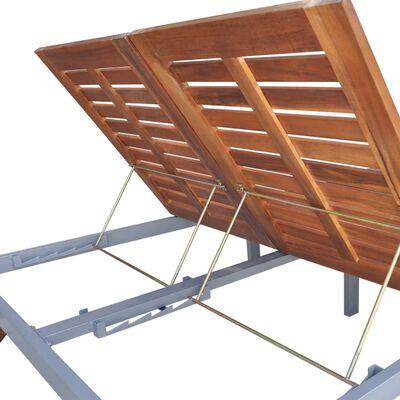 vidaXL 2 személyes tömör akácfa és horganyzott acél napozóágy párnával