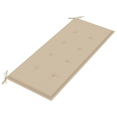 vidaXL tömör tíkfa kerti pad bézs párnával 120 cm