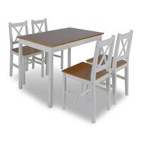 Fából Készült Asztal 4 Fából Készült Székkel / étkező garnitúra Barna