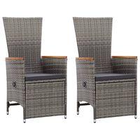 vidaXL 2 db szürke dönthető háttámlás polyrattan kerti szék párnával