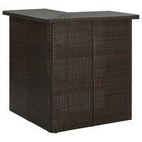 vidaXL barna polyrattan sarok bárasztal 100 x 50 x 105 cm