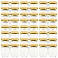 vidaXL 48 db 230 ml-es befőttesüveg aranyszínű tetővel