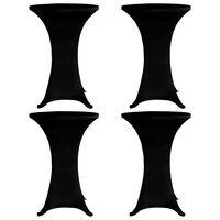 vidaXL 4 db fekete sztreccs asztalterítő bárasztalhoz Ø70 cm