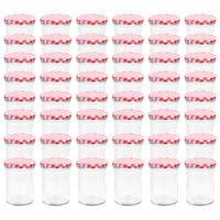 vidaXL 48 db 400 ml-es befőttesüveg piros-fehér tetővel