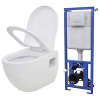 vidaXL falra szerelhető fehér kerámia WC rejtett öblítőtartállyal