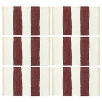 vidaXL 6 darab fehér-burgundi vörös csíkos pamut rongyalátét 30x45 cm