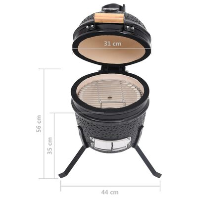vidaXL fekete kerámia 2 az 1-ben Kamado grillsütő füstölővel 56 cm