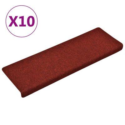 vidaXL 10 db bordó tűlyukasztott lépcsőszőnyeg 65 x 25 cm