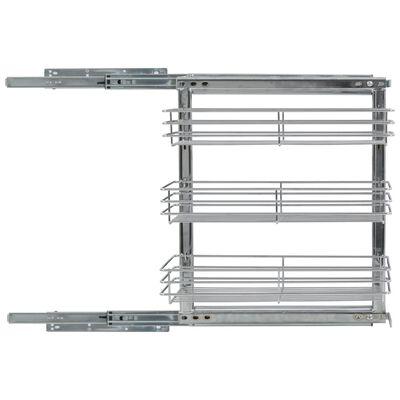 vidaXL ezüstszínű háromszintes kihúzható konyhai drótkosár 47x25x56 cm