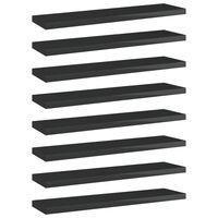 vidaXL 8 db magasfényű fekete forgácslap könyvespolc 40 x 10 x 1,5 cm