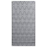 vidaXL fekete-fehér PP kültéri szőnyeg 160 x 230 cm